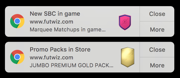 FUTWIZ Price Notifications SBCs and Packs